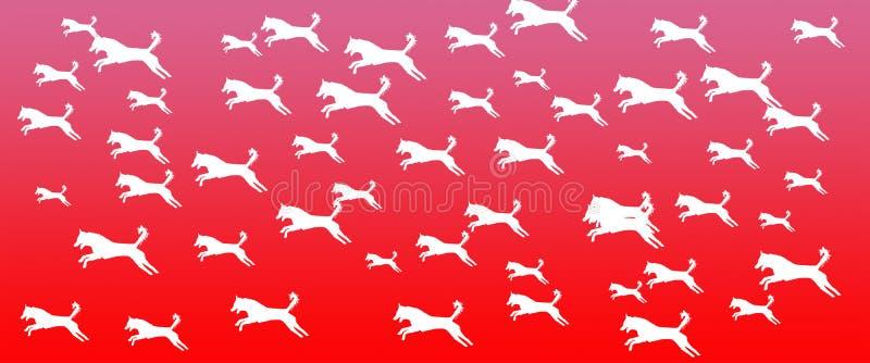 Los perros caseros del fondo del jefe modelan en fondo rosado de la pendiente stock de ilustración