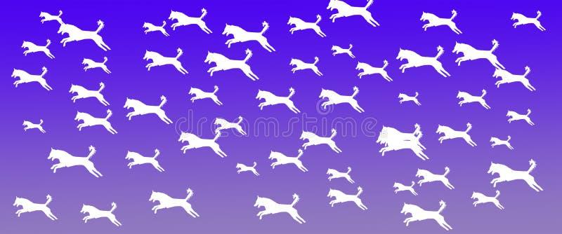 Los perros caseros del fondo del jefe modelan en Violet Gradient Background azul ilustración del vector