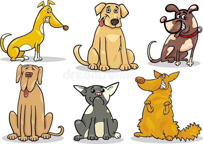 Los perros lindos fijaron el ejemplo de la historieta stock de ilustración