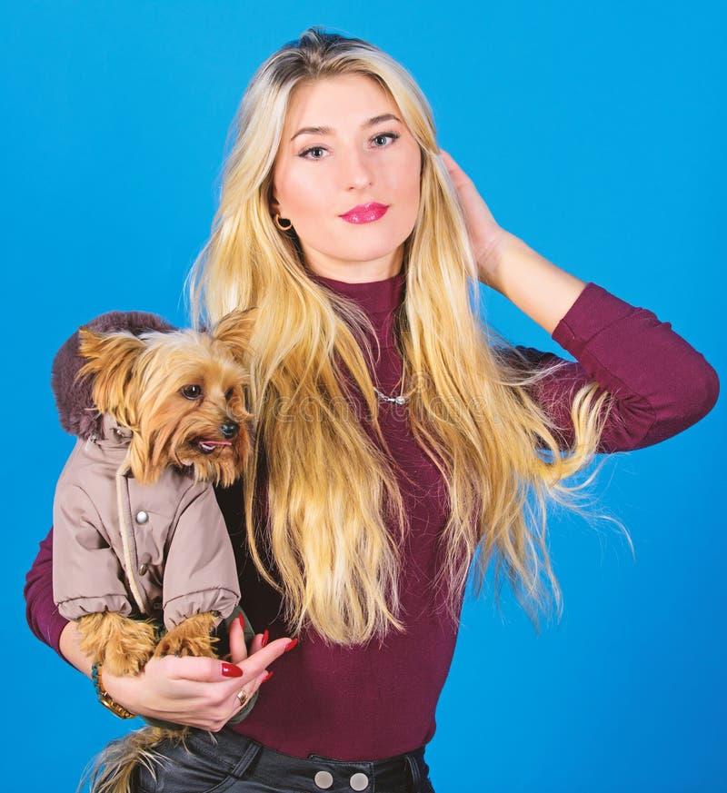 Los perros necesitan la ropa Perro del abrazo rubio adorable de la muchacha peque?o en capa ropa y accesorios Fuentes del animal  imagen de archivo libre de regalías