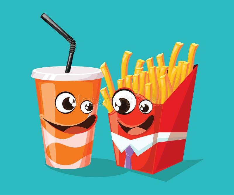 Los personajes de dibujos animados de los alimentos de preparación rápida inspiraron por las patatas fritas y la soda libre illustration