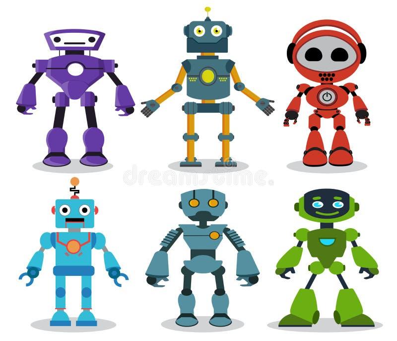 Los personajes de dibujos animados del vector de los juguetes del robot fijaron con miradas modernas y amistosas ilustración del vector
