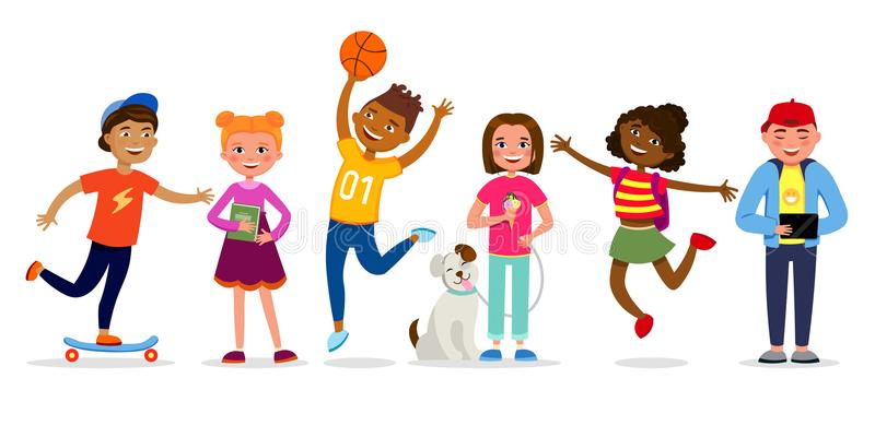 Los personajes de dibujos animados divertidos de los niños vector el ejemplo en diseño plano Muchachas y muchachos que hacen las  stock de ilustración