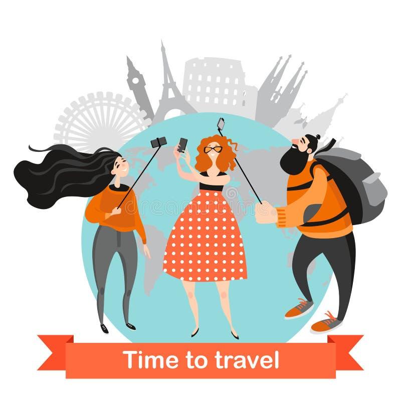 Los personajes de dibujos animados hacen el selfie La gente feliz viaja junta diversos lugares que visitan ilustración del vector