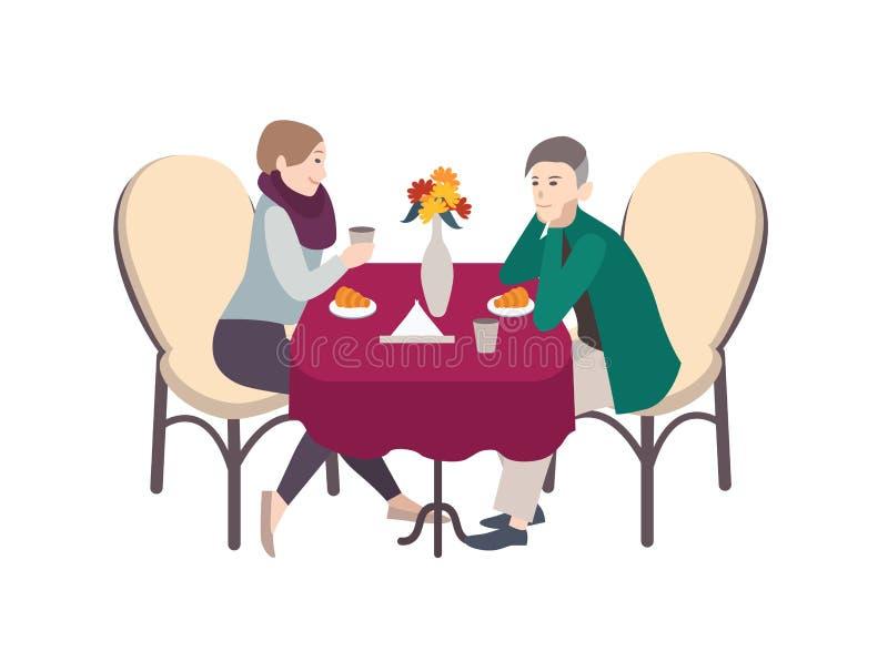 Los personajes de dibujos animados masculinos y femeninos se vistieron en la ropa informal que se sentaba en la tabla, café de co ilustración del vector
