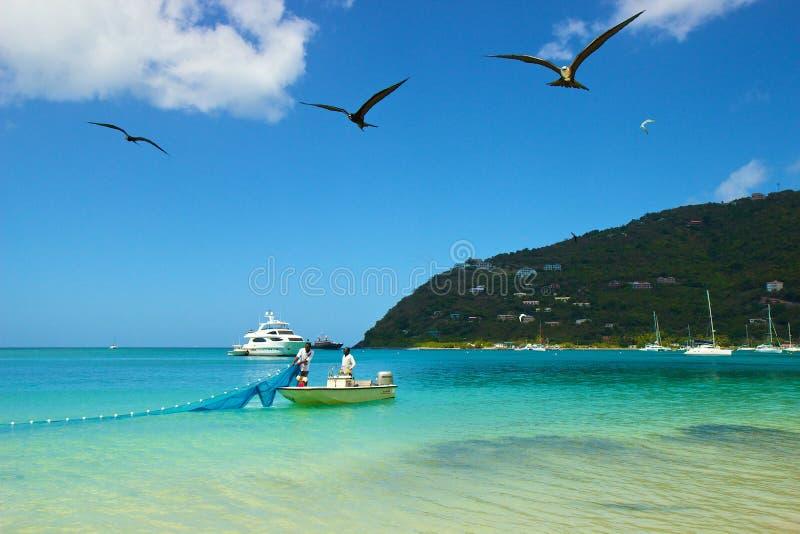 Los pescadores en Cane Garden aúllan en Tortola, del Caribe foto de archivo