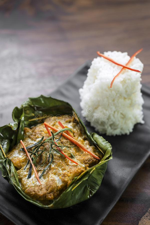 Los pescados camboyanos tradicionales del khmer curten amok foto de archivo libre de regalías