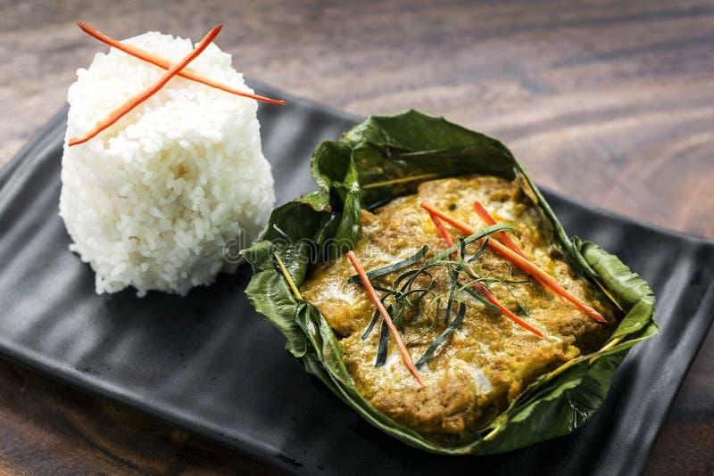 Los pescados camboyanos tradicionales del khmer curten amok fotografía de archivo