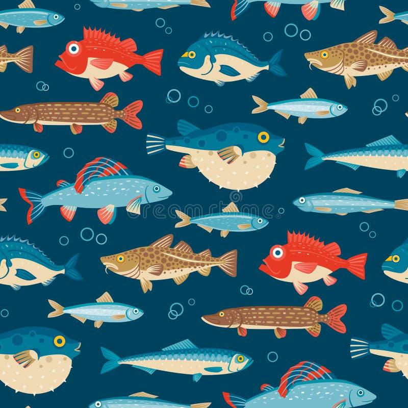 Los pescados coloridos, vector el modelo inconsútil stock de ilustración