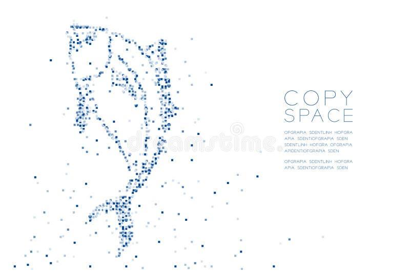 Los pescados de atún geométricos abstractos del modelo del pixel de la caja cuadrada ejemplo azul forman, acuático y de la vida m libre illustration