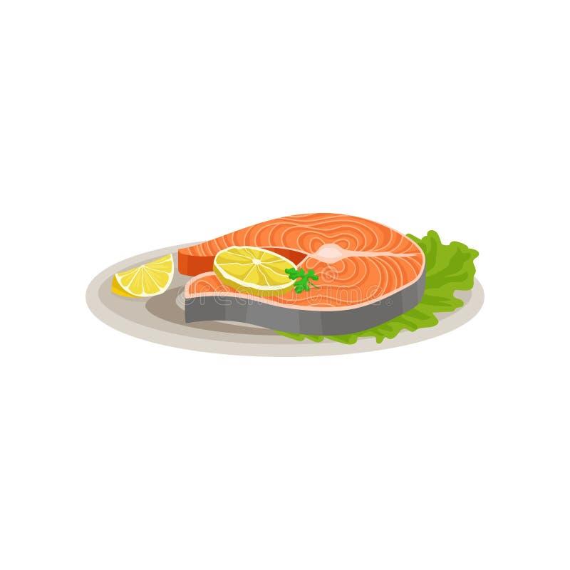 Los pescados de color salmón deliciosos con las rebanadas de limón y de lechuga fresca hojean en la placa de cerámica Plato sabro libre illustration