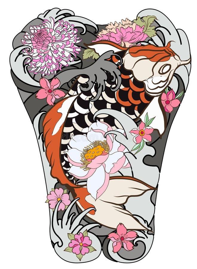 Los pescados de Koi con la peonía florecen y agitan el tatuaje, tatuaje japonés para el cuerpo trasero, vec japonés del libro de  libre illustration