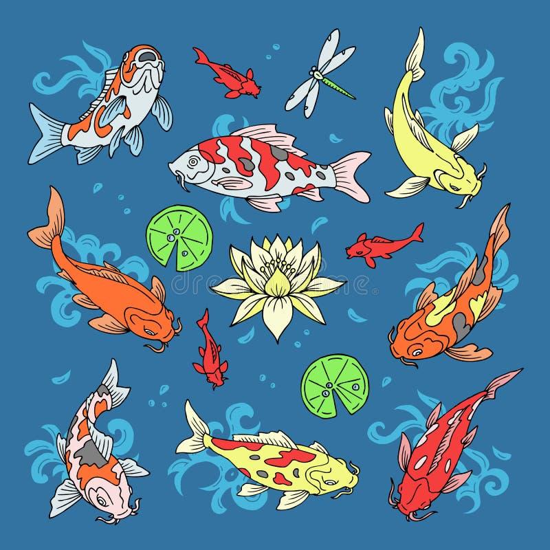 Los pescados de Koi vector la carpa japonesa del ejemplo y el koi oriental colorido en el sistema de Asia del pez de colores chin stock de ilustración