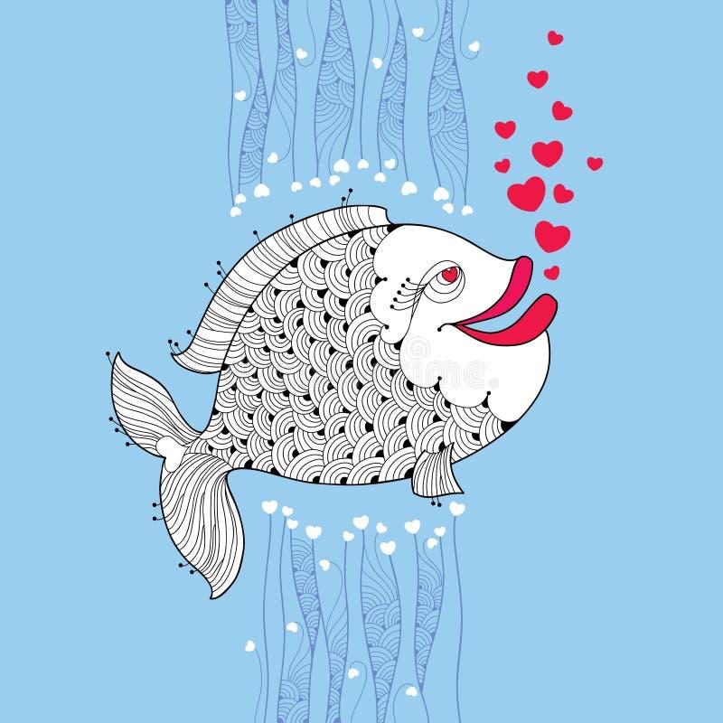 Los pescados de la historieta con los labios sonrientes y las burbujas rosadas les gusta el corazón en el fondo azul ilustración del vector