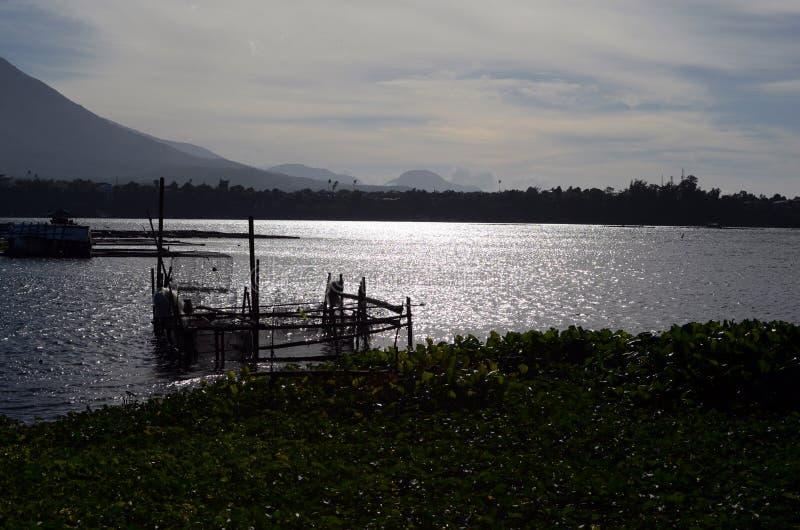Los pescados del lago enjaulan por completo de aspecto medioambiental de los lirios de agua que enfrentan la piscicultura fotografía de archivo libre de regalías