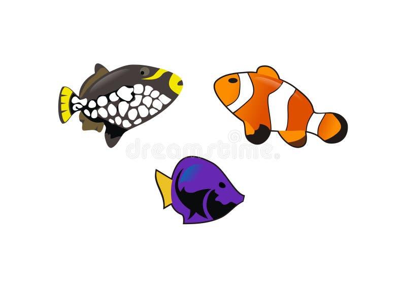 Los pescados divertidos diseñan vector ilustración del vector
