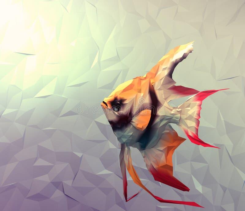 Los pescados escalares en el agua 3d rinden el ejemplo de la superficie plana ilustración del vector