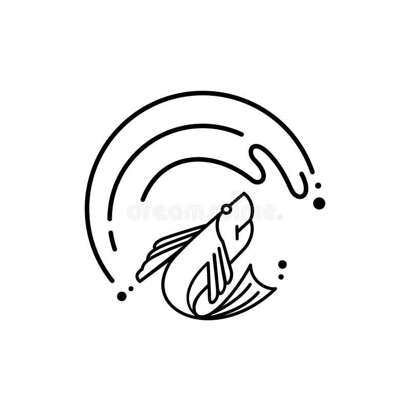 Los pescados frescos saltan bajo gran logotipo de la onda ilustración del vector