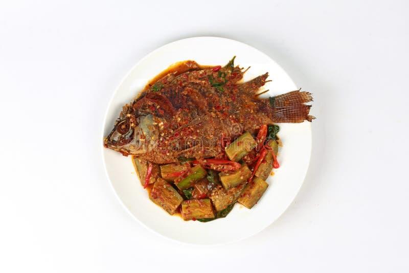 Los pescados fritos de la Tilapia remataron la berenjena frita picante imagenes de archivo