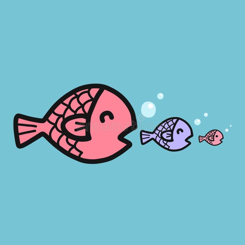 Los pescados grandes comen el pequeño ejemplo de la historieta de los pescados, concepto del negocio libre illustration