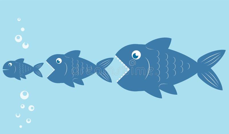 Los pescados grandes comen los pequeños pescados, diseño de la cadena alimentaria, illust común del vector stock de ilustración