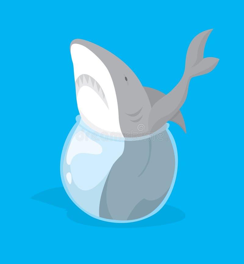 Los pescados grandes en la pequeña charca o el tiburón se pegaron en pequeño fishbowl stock de ilustración