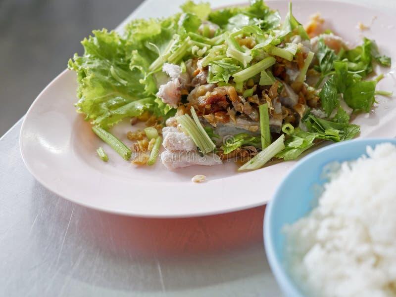 Los pescados hervidos sumergen con la salsa y la verdura, lubina hervida con arroz fotografía de archivo libre de regalías