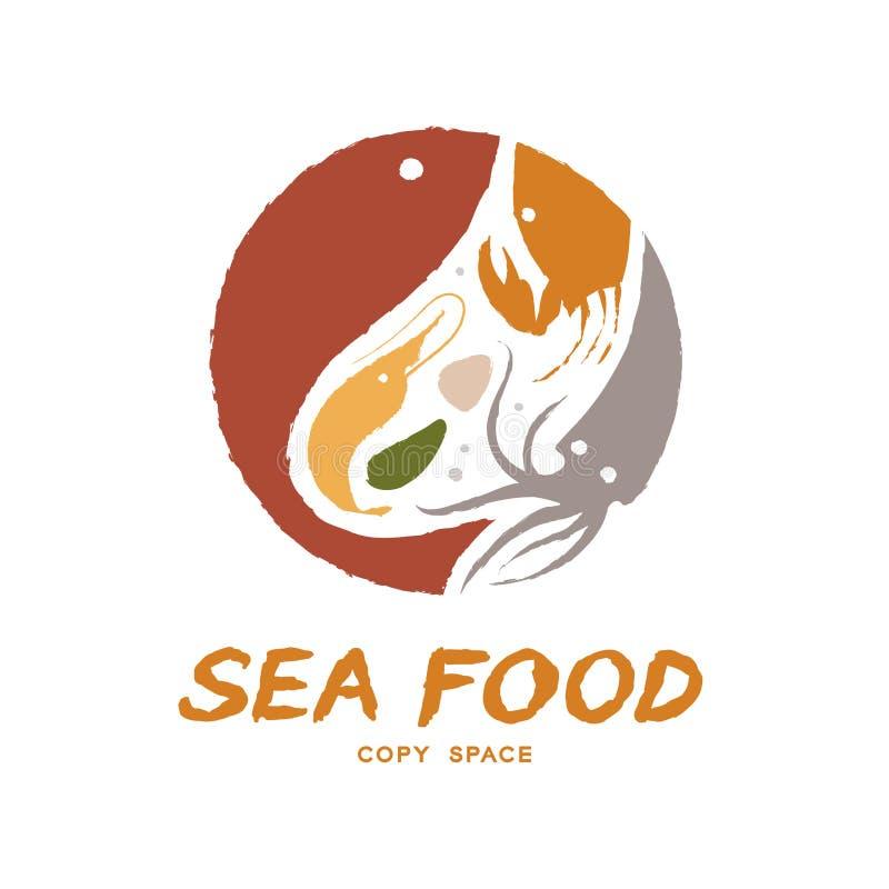 Los pescados, la gamba, la cáscara, el cangrejo y el calamar circundan la forma, ejemplo colorido del diseño determinado del icon libre illustration
