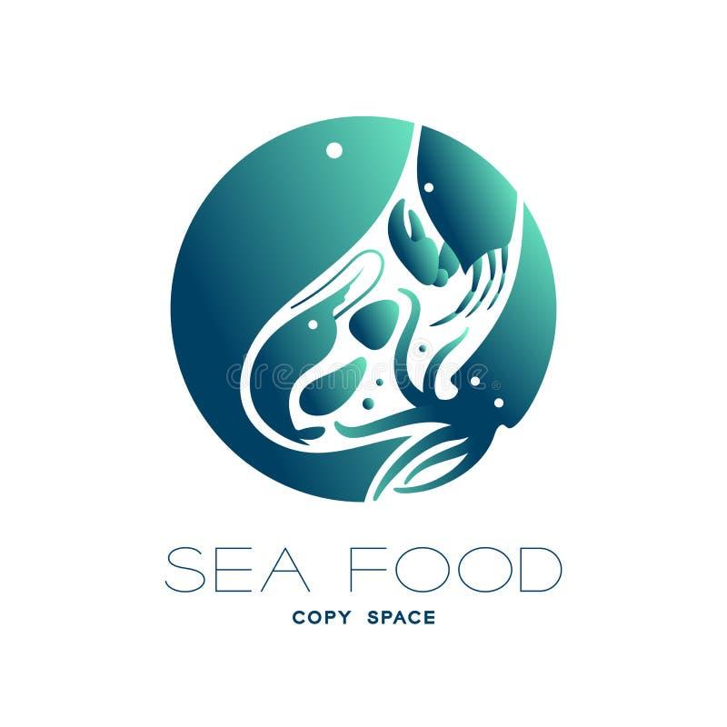 Los pescados, la gamba, la cáscara, el cangrejo y el calamar circundan forma, el ejemplo verde y azul marino del diseño determina libre illustration