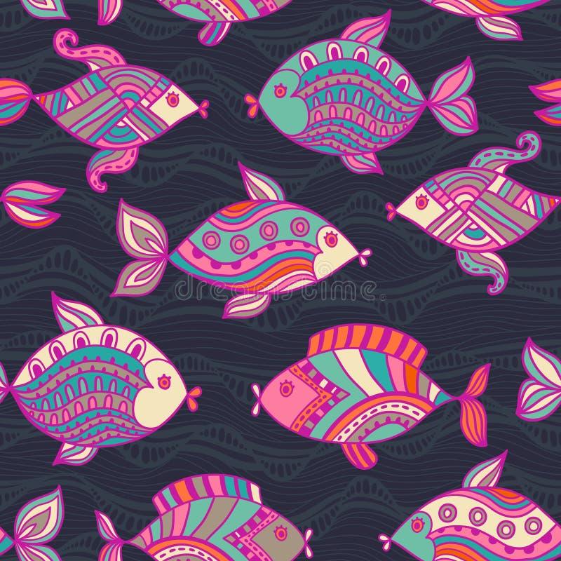 Los pescados modelan en estilo abstracto. Copie el cuadrado al lado y al you ilustración del vector