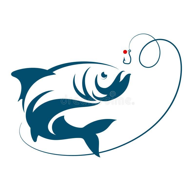 Los pescados que saltan para el gancho del cebo stock de ilustración