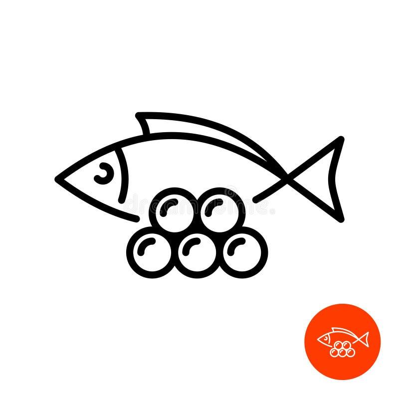 Los pescados simples siluetean con la línea icono del caviar stock de ilustración