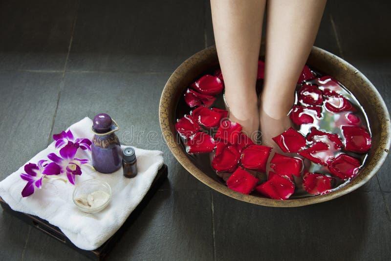 Los pies de la mujer que empapan en agua con Rose Petals foto de archivo libre de regalías