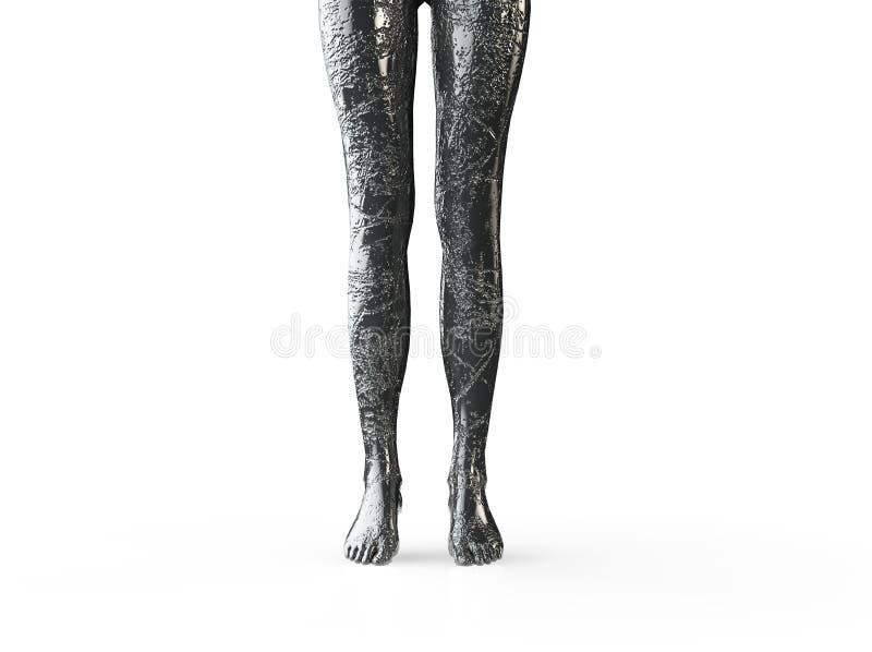 Los pies de piedra de 3d rindieron el ejemplo del pie humano ilustración del vector