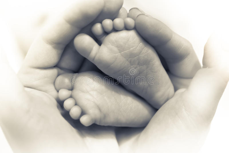 Los pies recién nacidos del bebé en manos de la madre simbolizan amor del cuidado y del padre en color blanco y negro fotografía de archivo
