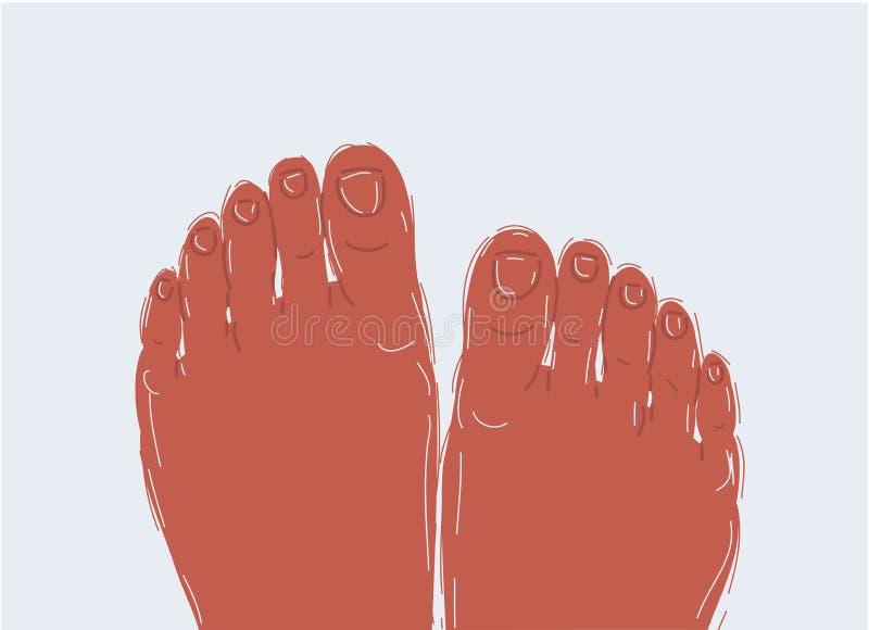 Los pies relajados de la hembra contra el agua de la piscina stock de ilustración