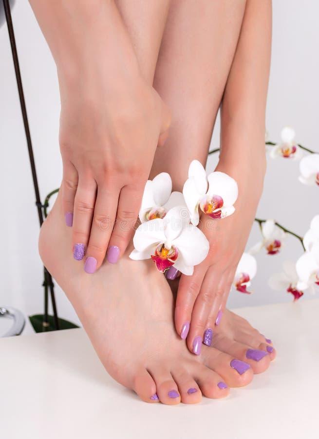 Los pies y las manos femeninos jovenes con los clavos de la lila pulen color fotografía de archivo libre de regalías
