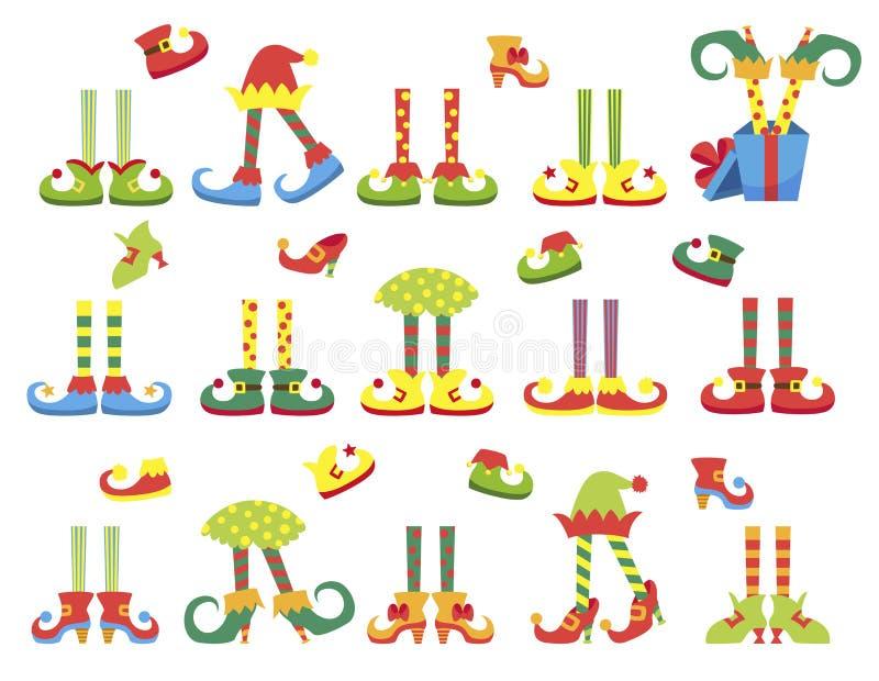 Los pies y las piernas del duende de la Navidad fijaron, decoración para la celebración stock de ilustración