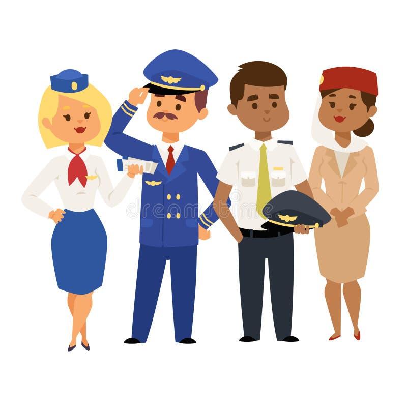 Los pilotos y la azafata vector a gente de los asistentes de vuelo de la presentadora de aire del personal de personales del avió stock de ilustración