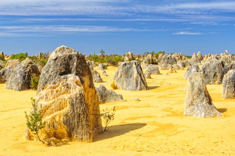 Los pináculos abandonan en el parque nacional de Nambung - Cervantes fotografía de archivo