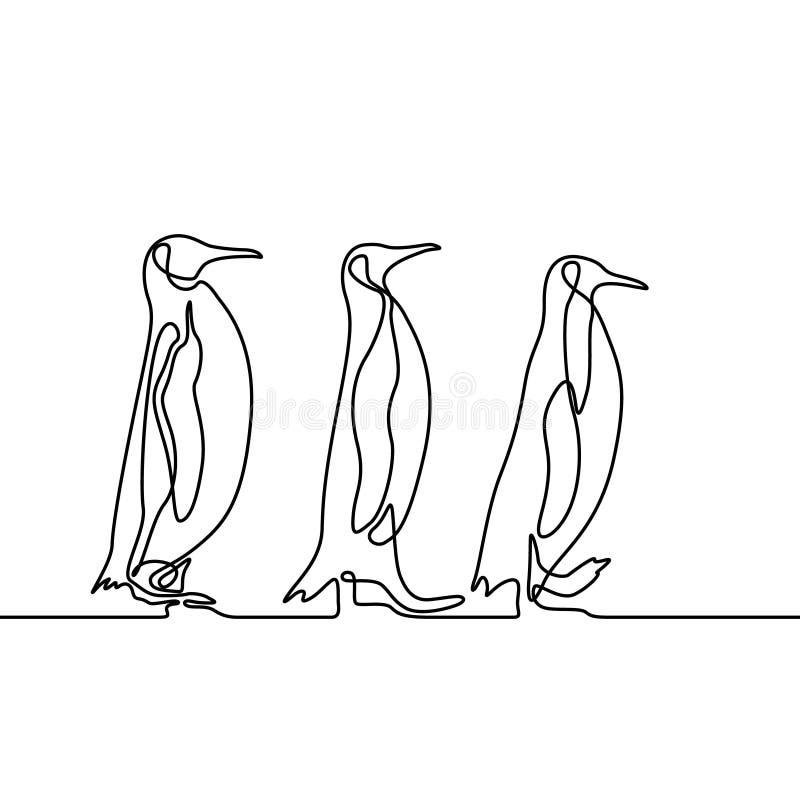 Los pingüinos continuos del dibujo lineal tres se siguen concepto del recorrido Vector stock de ilustración
