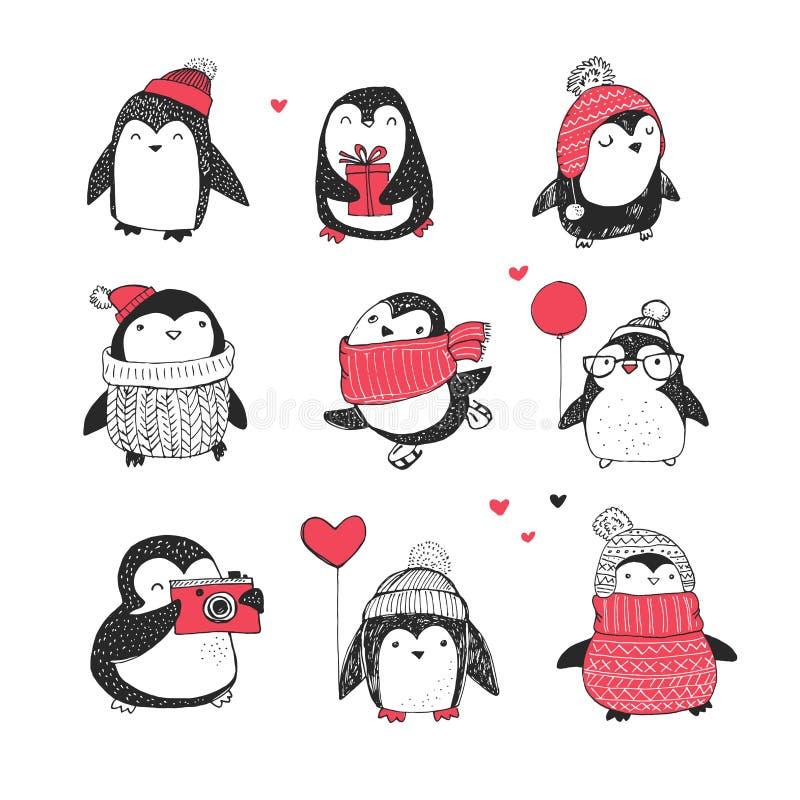 Los pingüinos dibujados mano linda fijaron - saludos de la Feliz Navidad stock de ilustración
