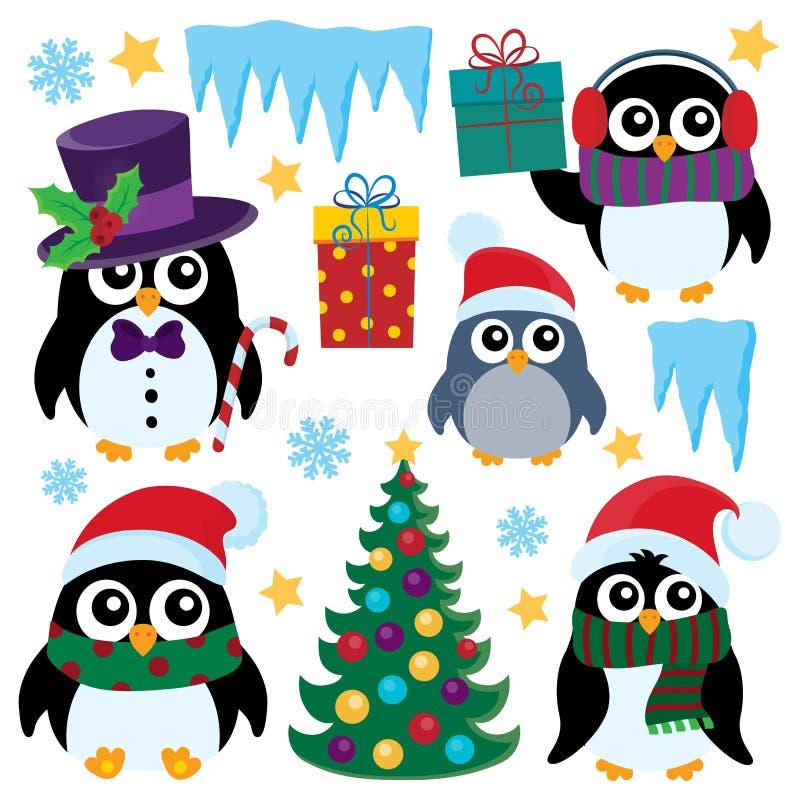 Los pingüinos estilizados de la Navidad fijaron 1 ilustración del vector