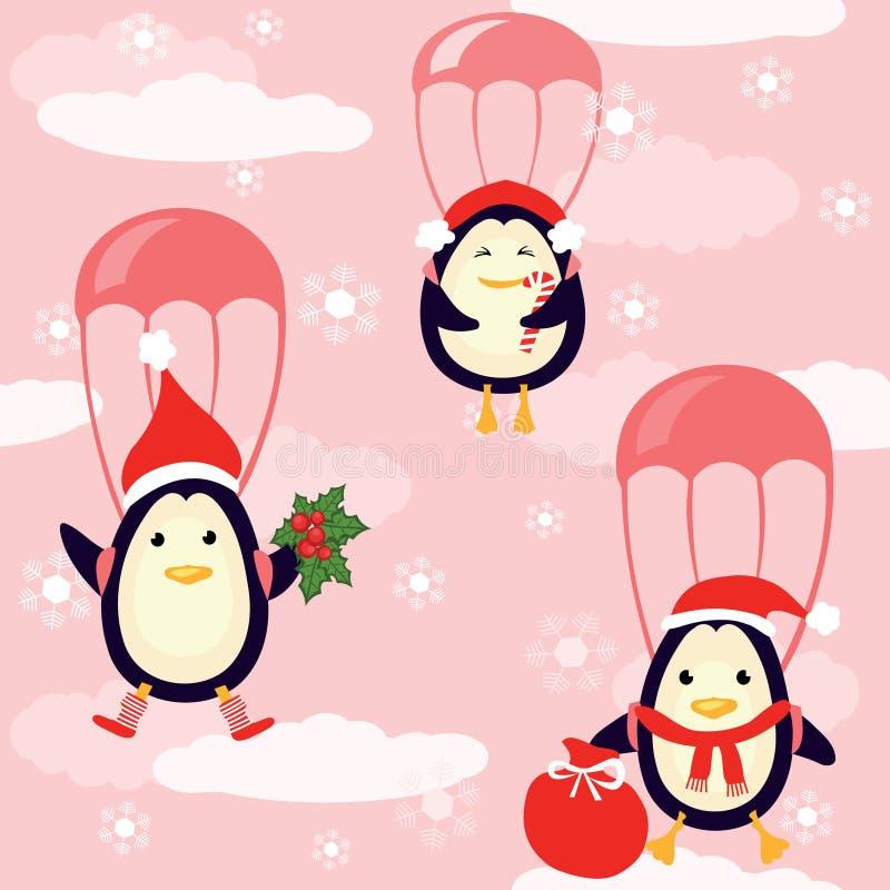 Los pingüinos vuelan en el cielo ilustración del vector
