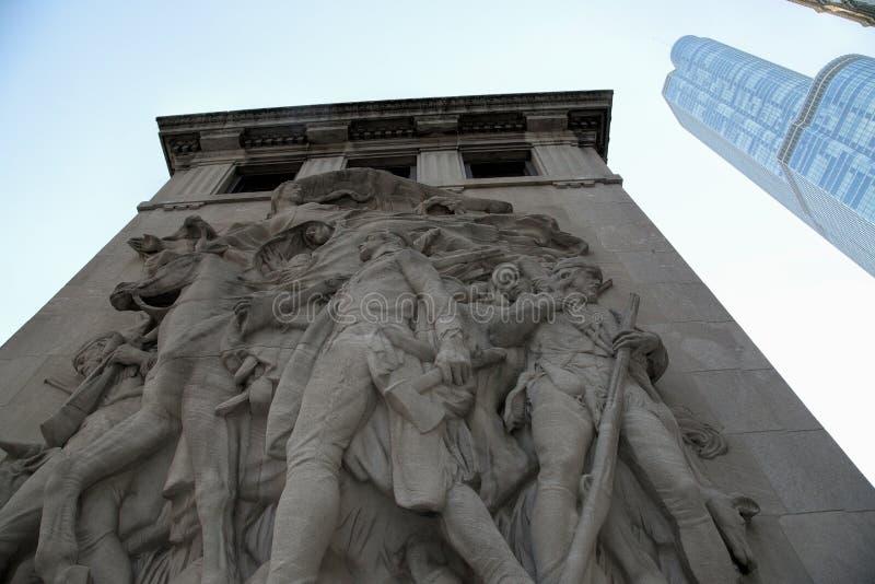 Los pioneros Bas Relief Sculpture en Chicago fotografía de archivo libre de regalías