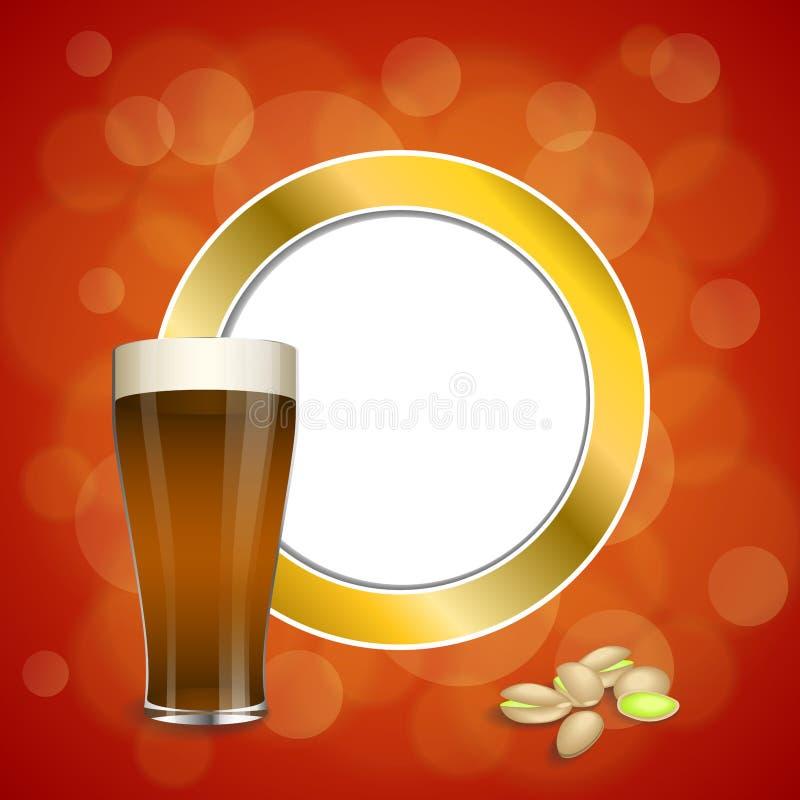 Los pistachos de cristal de la cerveza oscura de la bebida roja abstracta del oro del fondo circundan el ejemplo del marco stock de ilustración
