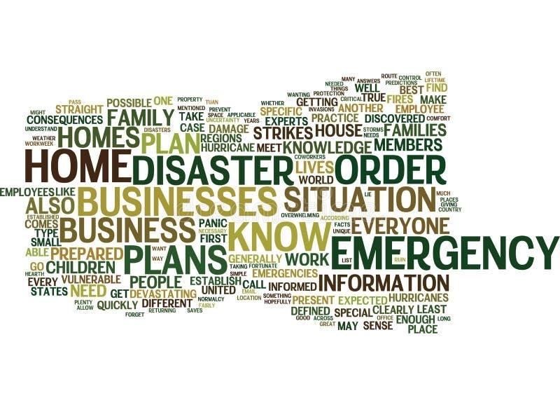 Los planes de emergencia son importantes para su concepto de la nube de la palabra del hogar y del negocio stock de ilustración
