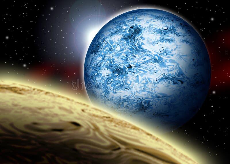 Los planetas chocan stock de ilustración