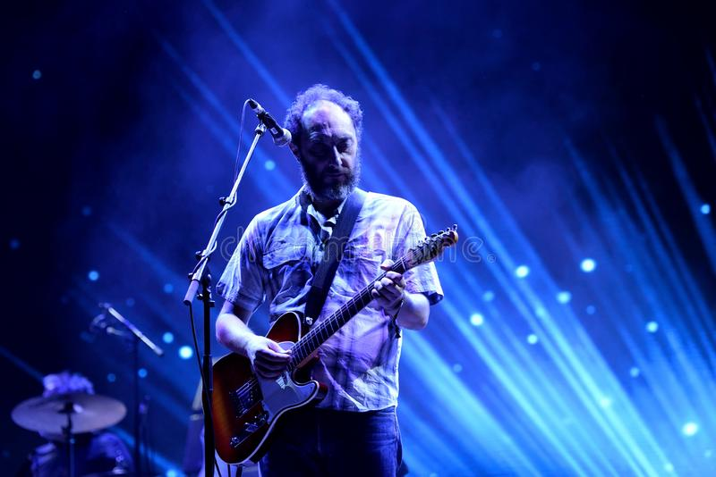 Los Planetas music band perform in concert at FIB Festival. BENICASSIM, SPAIN - JUL 14: Los Planetas music band perform in concert at FIB Festival on July 14 stock photo