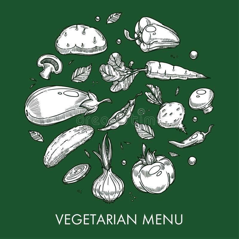 Los platos vegetales y las comidas del menú vegetariano cultivan o agricultura ilustración del vector